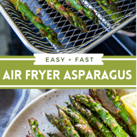 Collage image of asparagus in an air fryer basket and asparagus on a plate with parmesan on top.