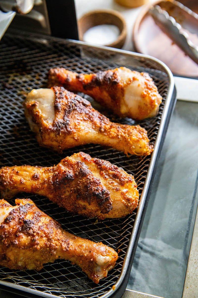 Crispy air fryer chicken legs.