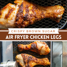 Collage image of air fryer chicken wings and an image of chicken wings in an air fryer.