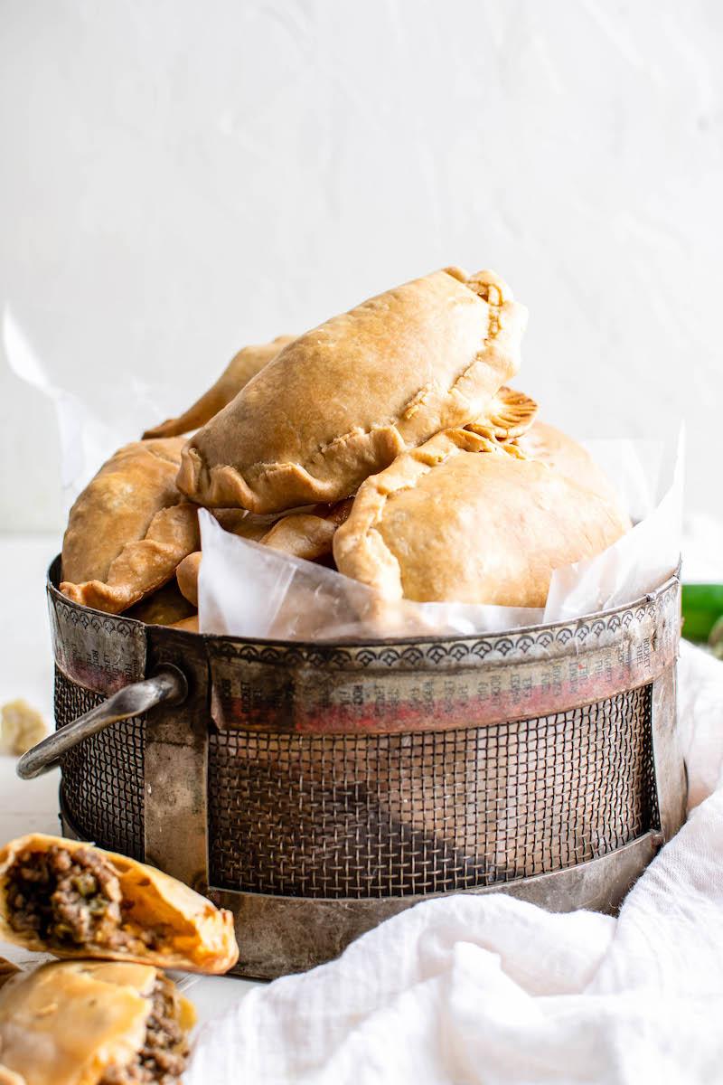 Bucket of beef empanadas.