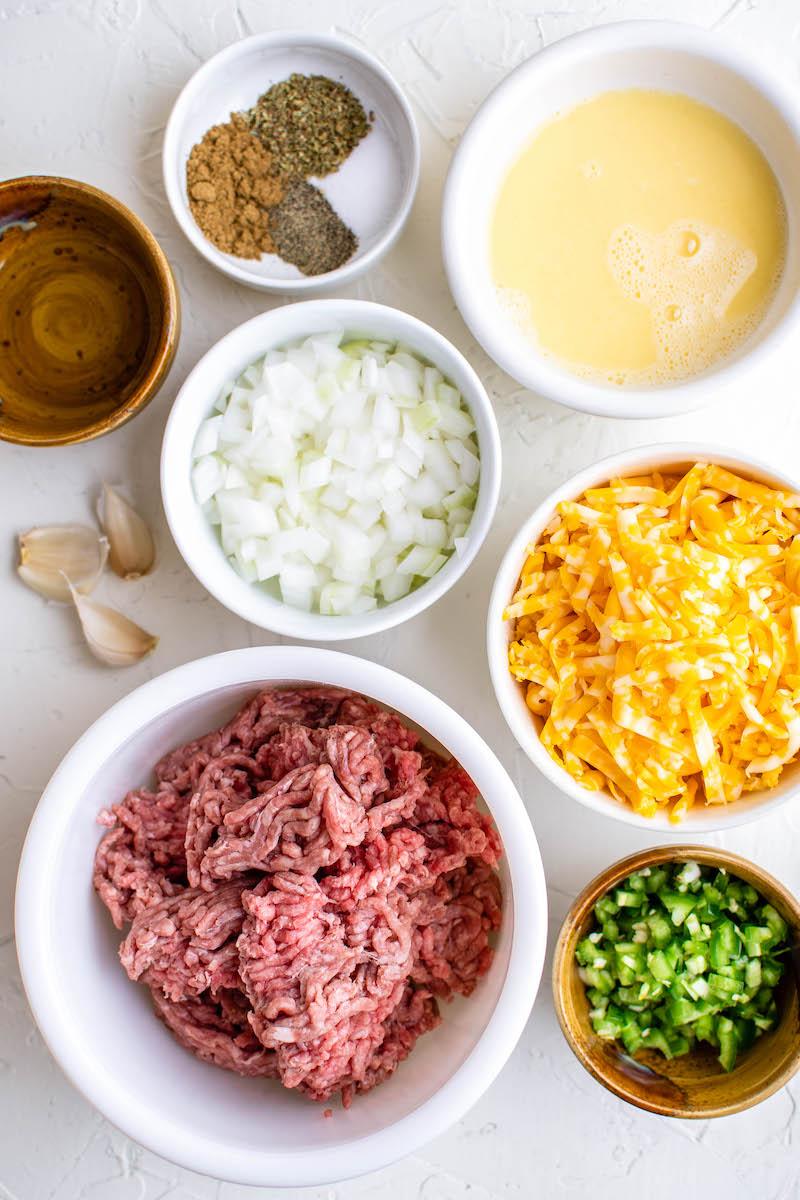 Ingredients for beef empanadas.