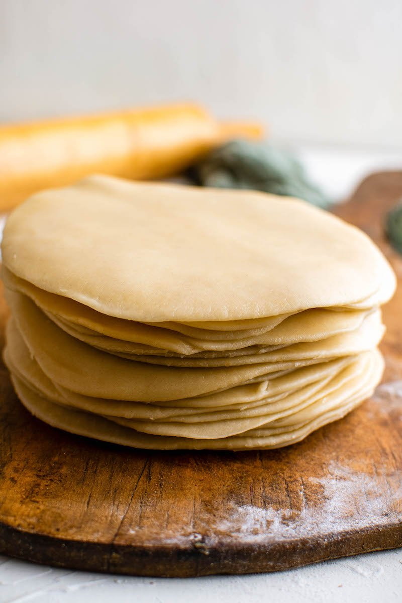 Stack of dough in circular disks.
