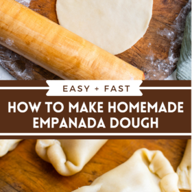 Collage image of empanada dough rolled into a disk and an uncooked formed empanada.
