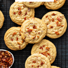 Overhead image of maple bacon cookies on a cookie cooling rack.