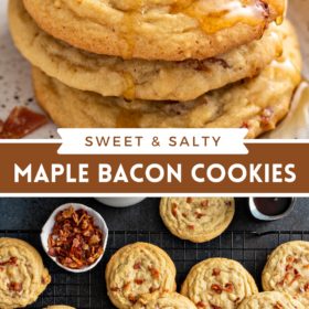 Collage image of Maple Bacon Cookies with cookies stacked on top of each other and more cookies on a cooling rack with bacon in a bowl.