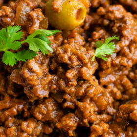Bowl of Mexican beef picadillo.