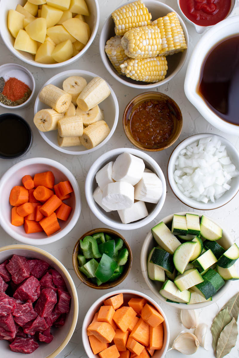 Ingredients for beef sancocho.