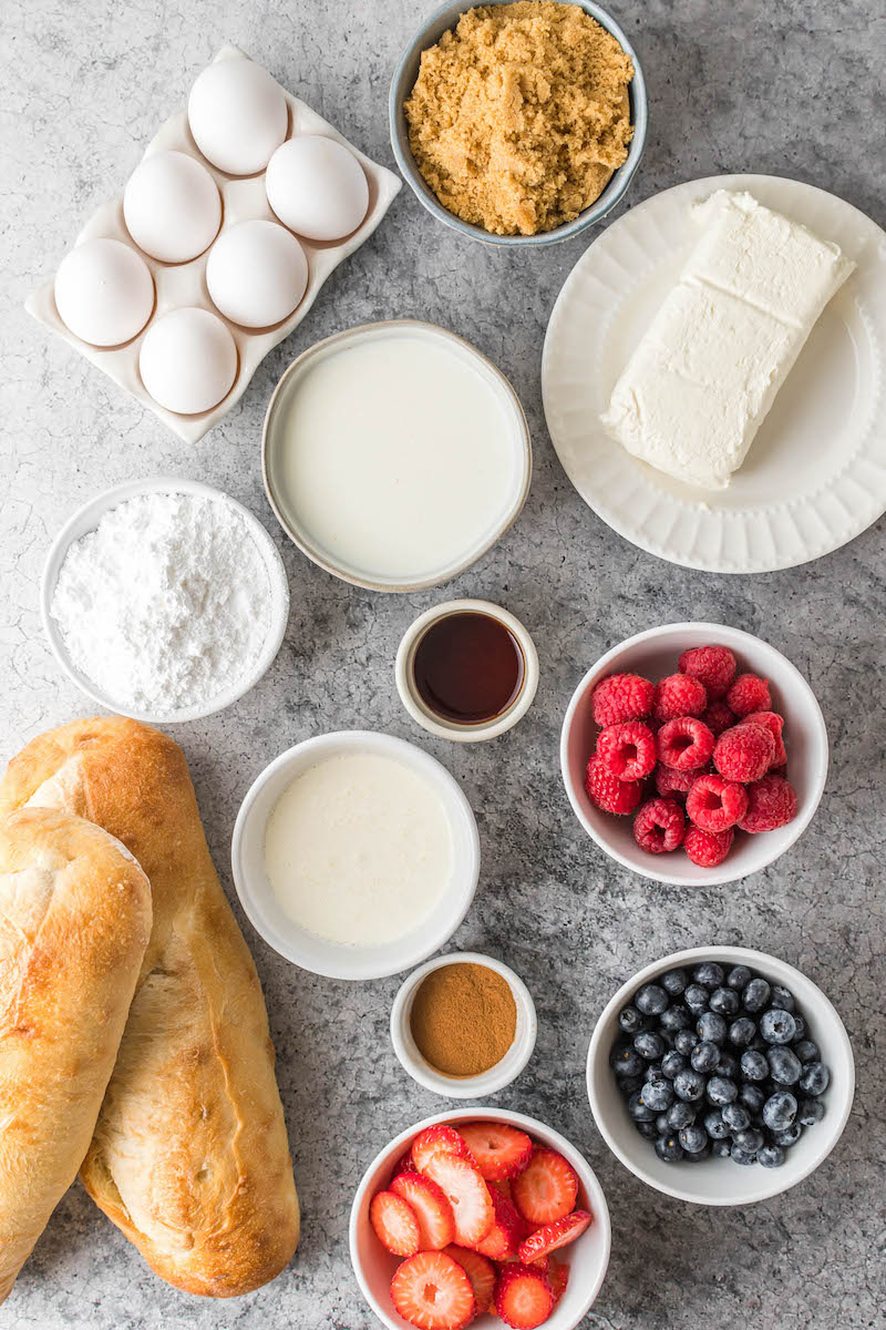 Ingredients for berry stuffed fresh toast.