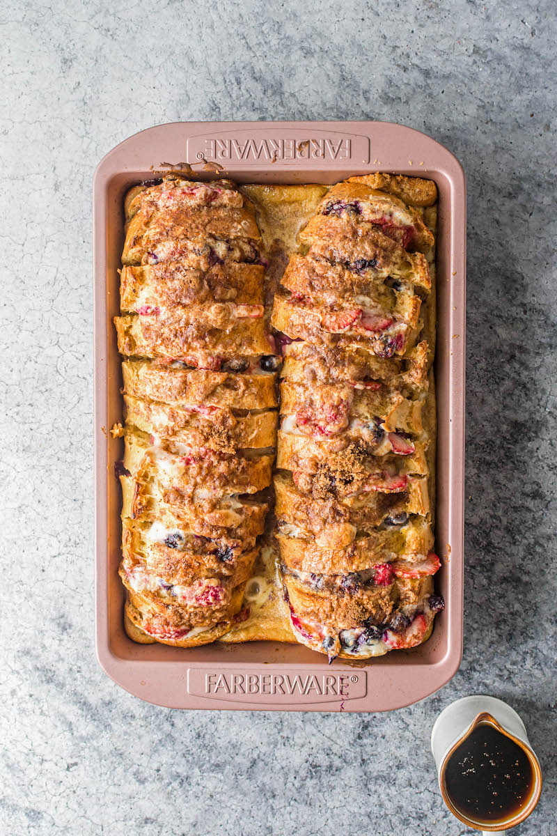 Baked stuffed french bread in a pan.