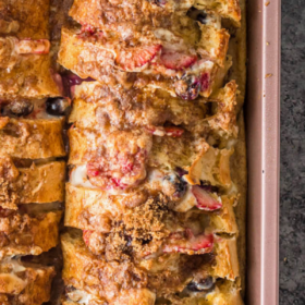 Overhead image of Stuffed French toast in a baking pan after baking.