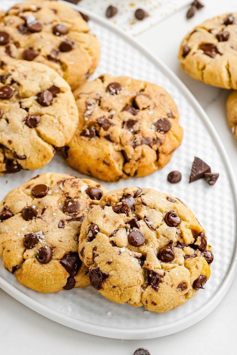 Plate of chocolate chip chocolate chunk cookies.