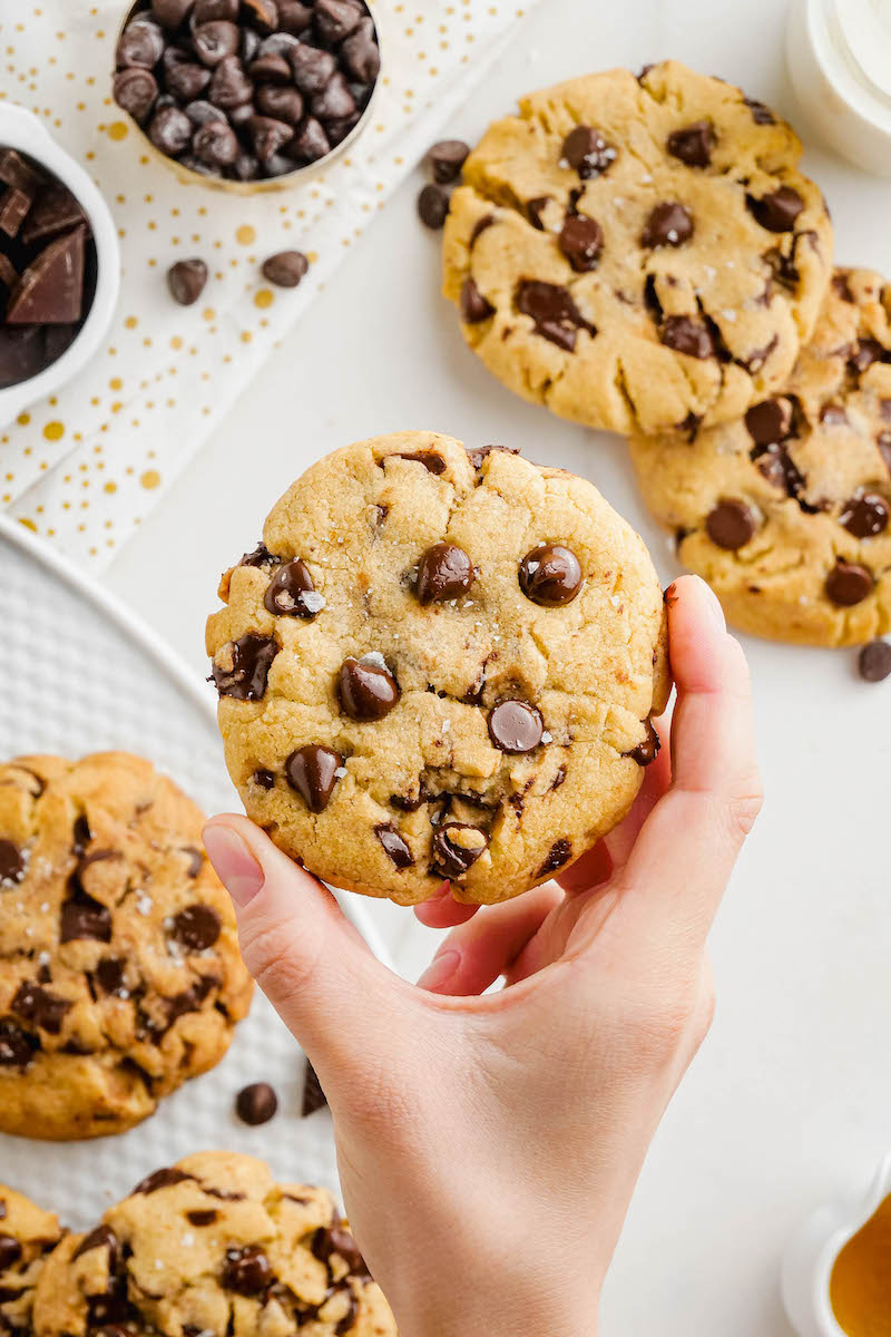 Someone holding a chocolate chip cookie.