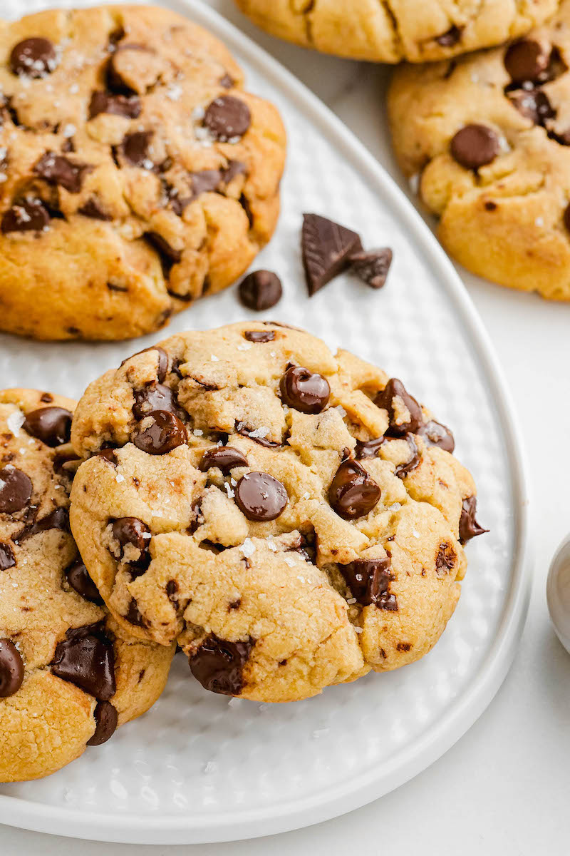Plate of chocolate chip cookies.
