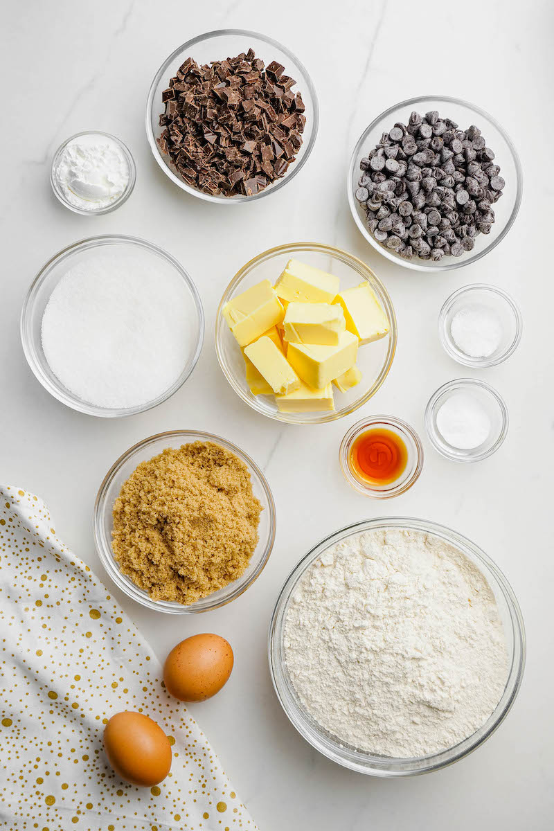 Ingredients for brown butter chocolate chip cookies.