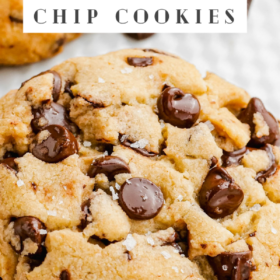Up close image of Brown Butter Chocolate Chip Cookies on a white plate.