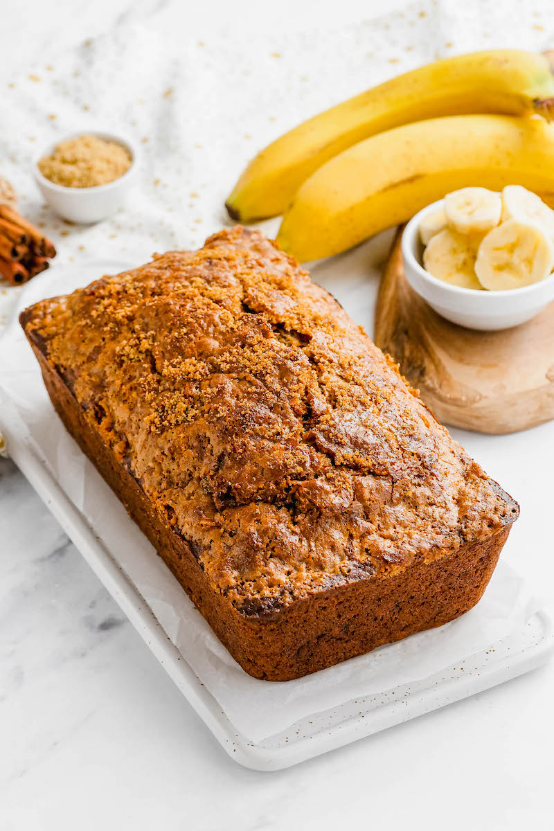 Loaf of brown sugar banana bread.
