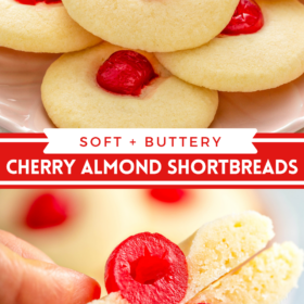 Collage image of almond shortbread cookies stacked on top of each other with a cherry in the middle and cut in half.