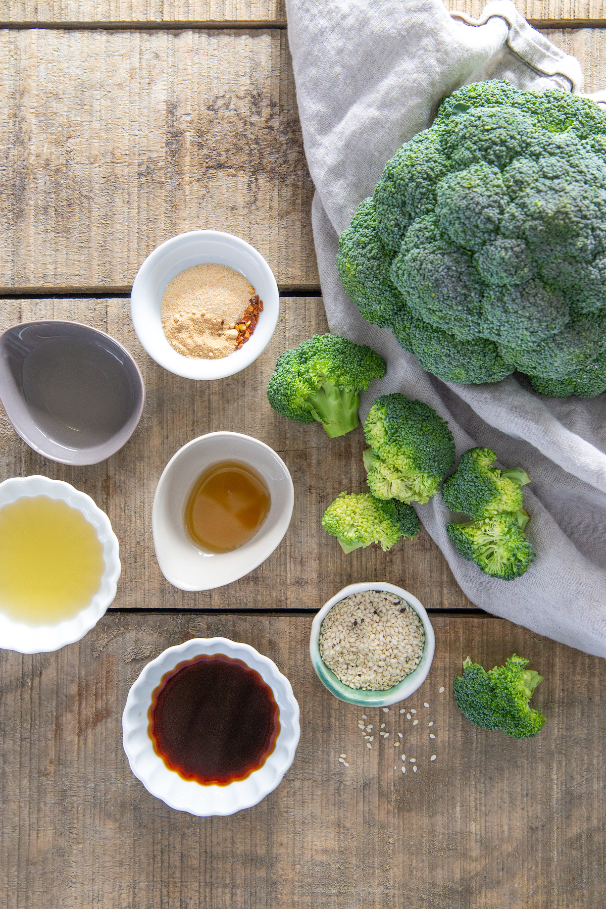 Ingredients for air fryer Asian roasted broccoli.