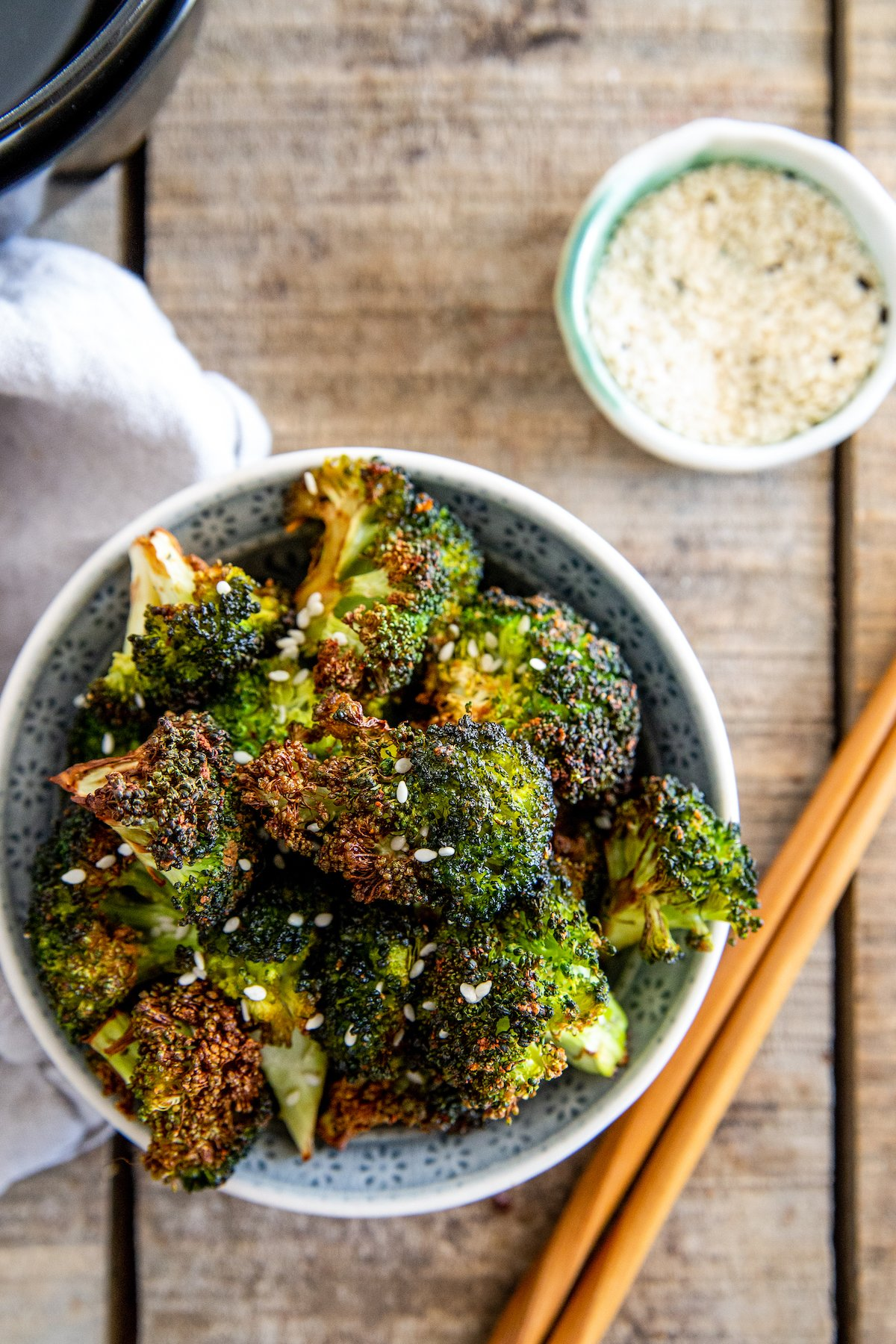 Asian roasted broccoli in a bowl.