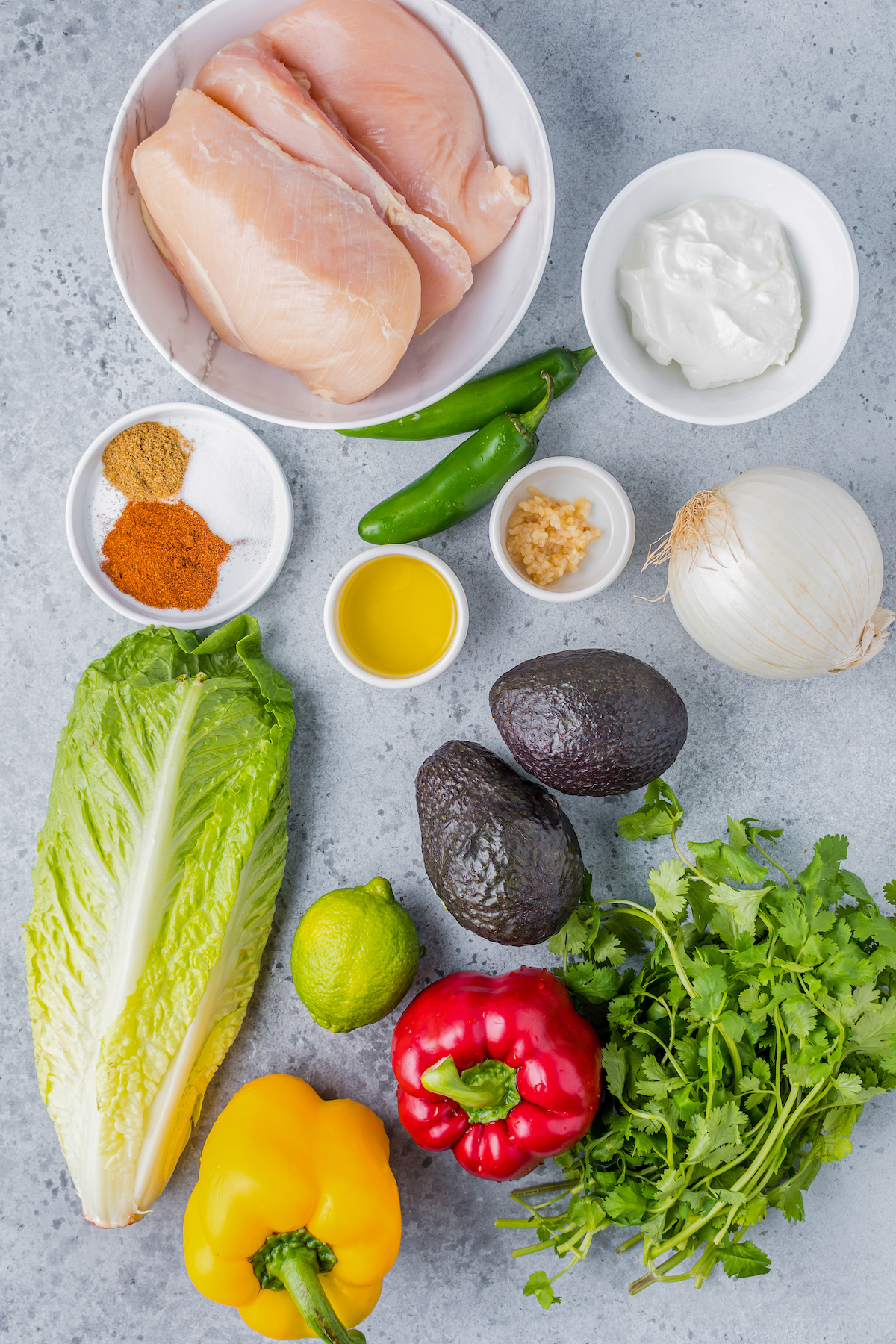 Ingredients for air fryer chicken fajita salad.