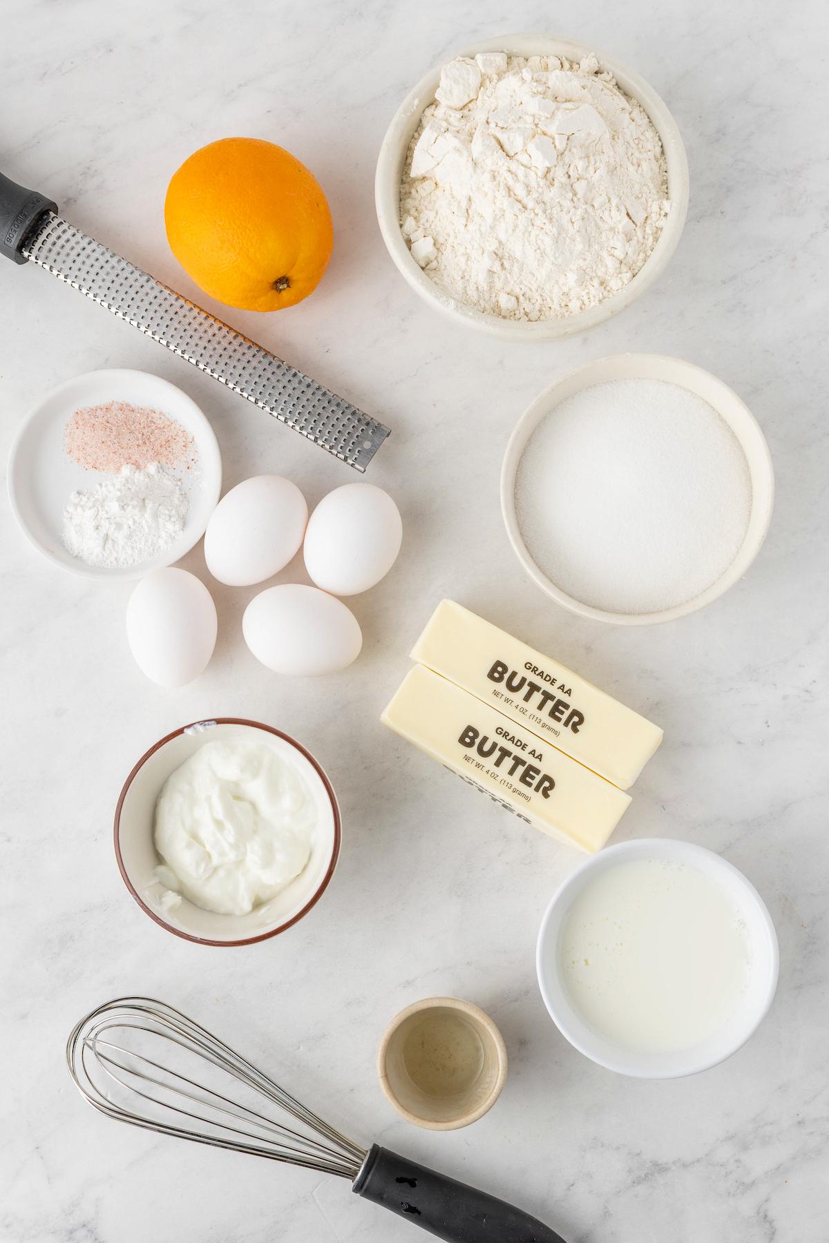Ingredients for Easter egg cake.
