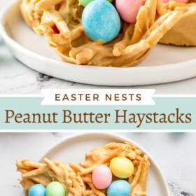 Collage image of easter haystacks on a white plate and an over head image of three on a white plate.