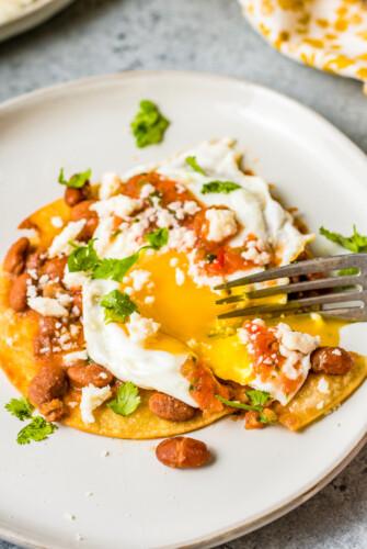 Huevos rancheros with homemade salsa.