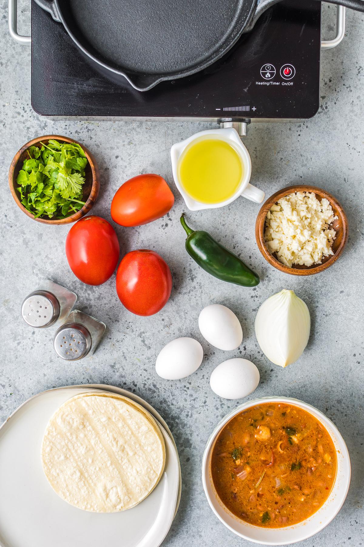 Ingredients for huevos rancheros.