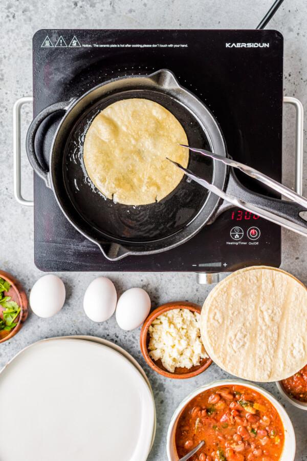 Crispy tortilla in a pan.