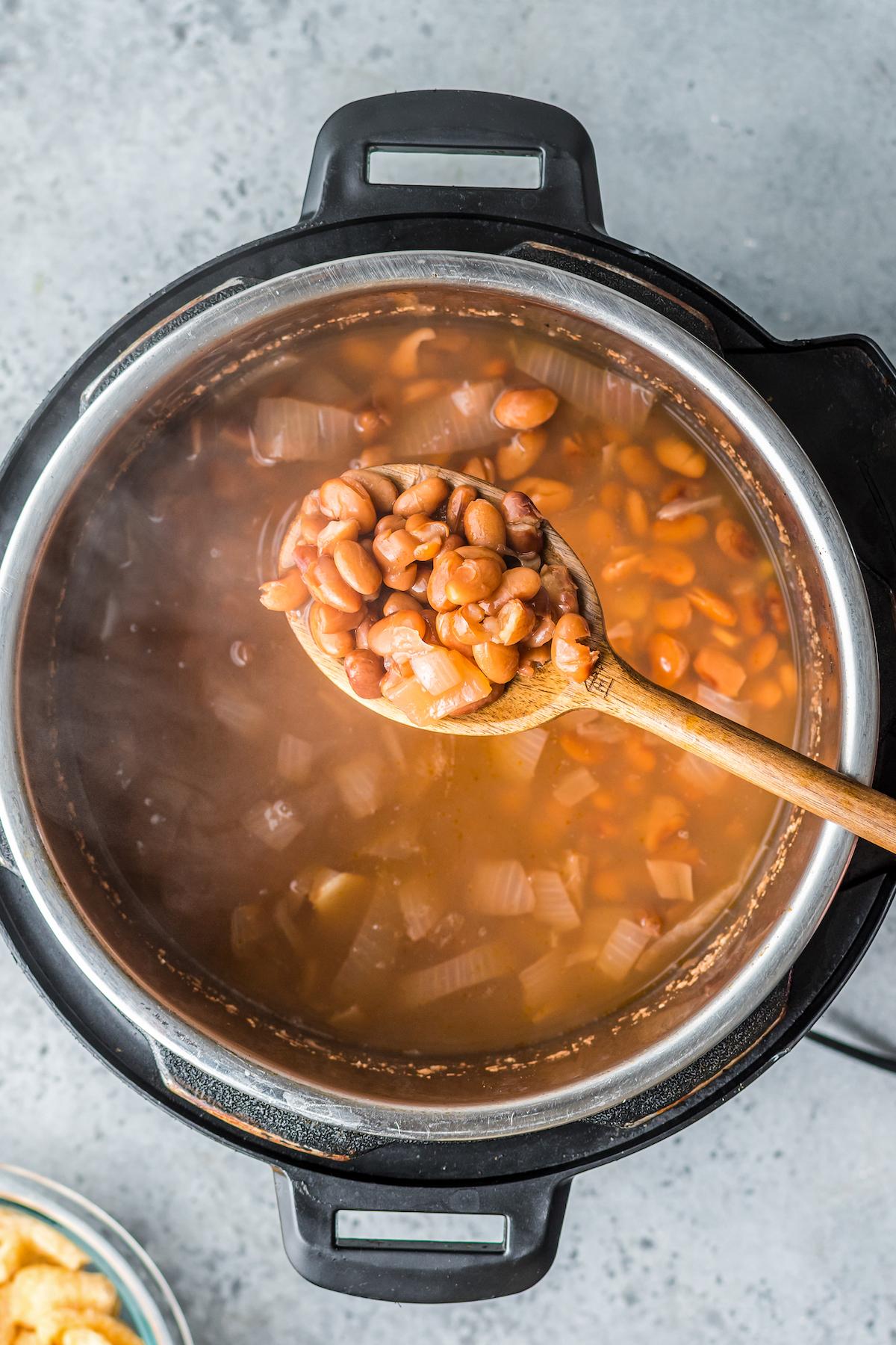 Instant pot full of charro beans stew.