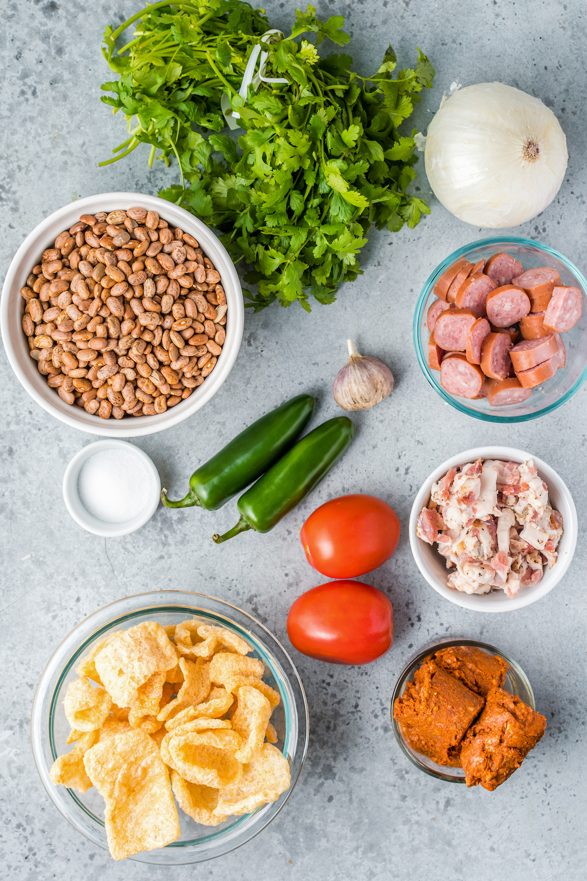 Ingredients for Instant Pot charro beans.