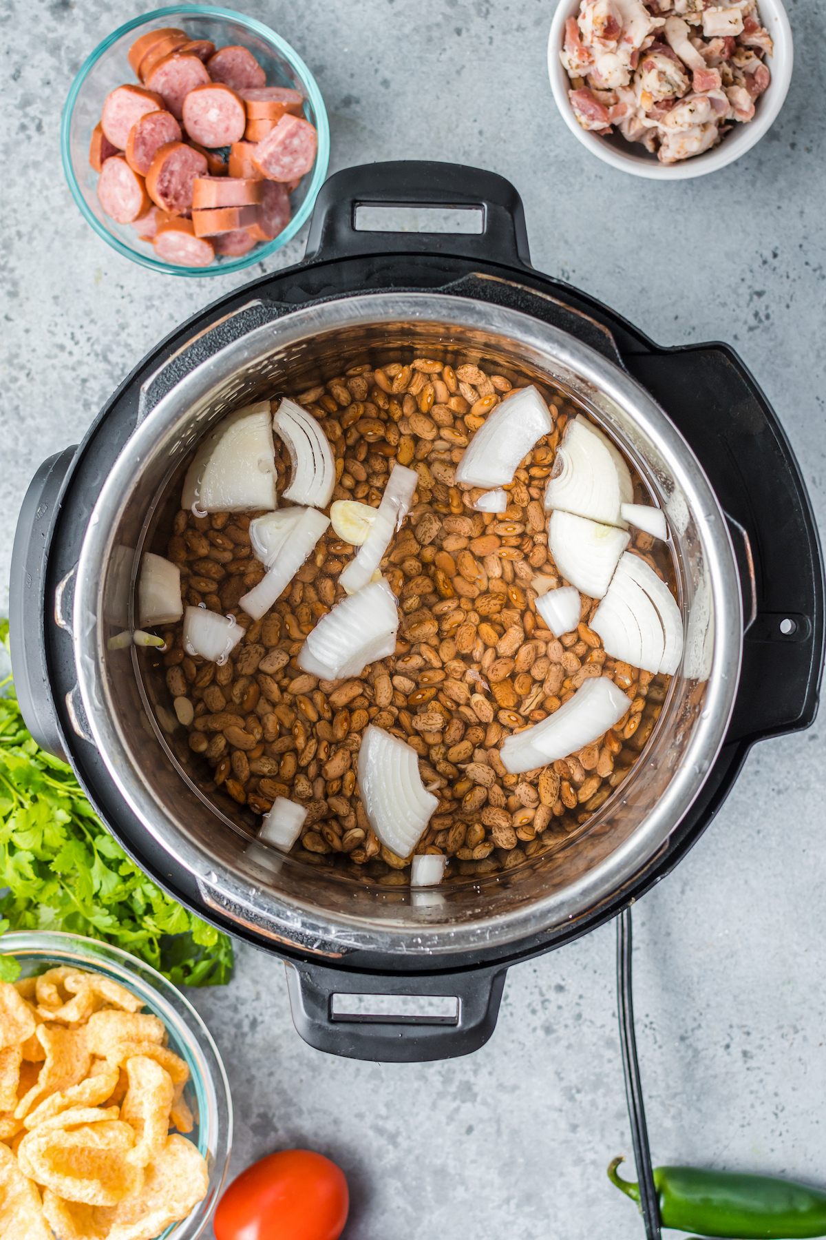 Pinto beans with sliced onion.