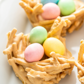 Easter egg haystacks are on a white plate.