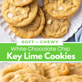 Collage image of key lime cookies in a circle on a white plate and an up close image of white chocolate key lime cookies with lime zest on top.