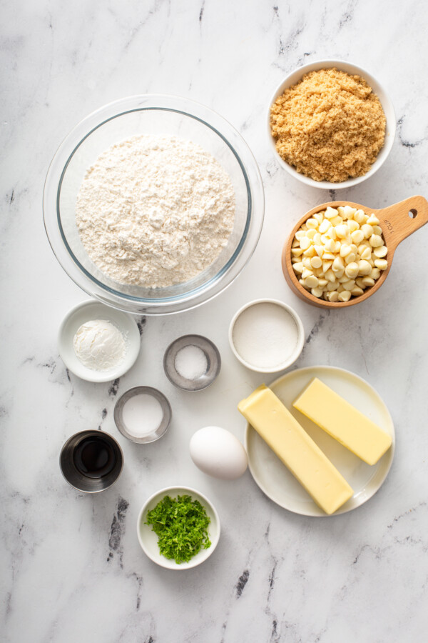 The ingredients for key lime cookies are spread out.