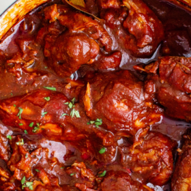 Overhead image of mexican adobo chicken in a pot.
