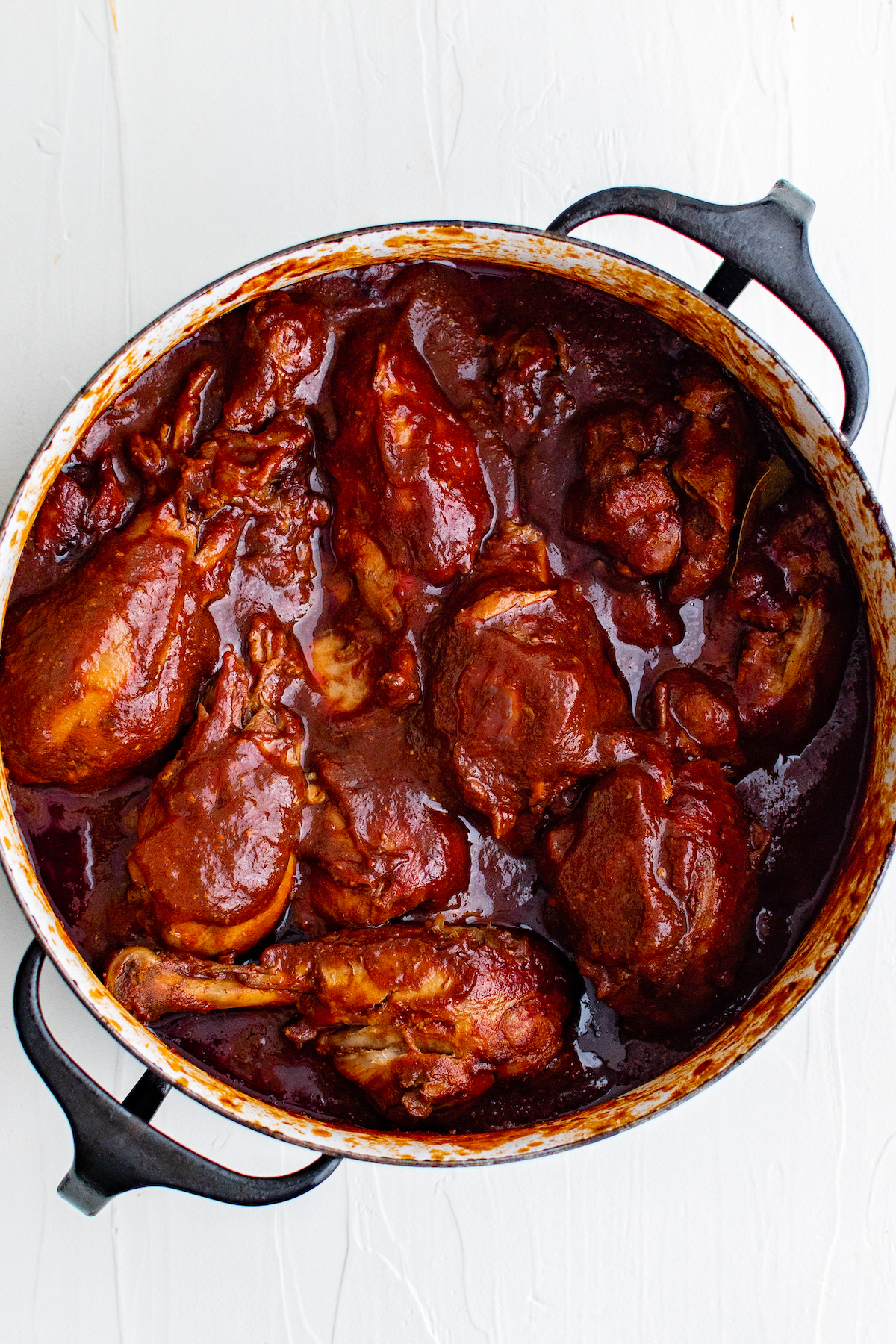 Chicken cooked in adobo sauce.