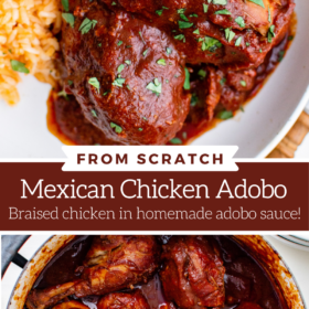 Collage image of a white plate with chicken adobo and a pot filled with Mexican chicken adobo.