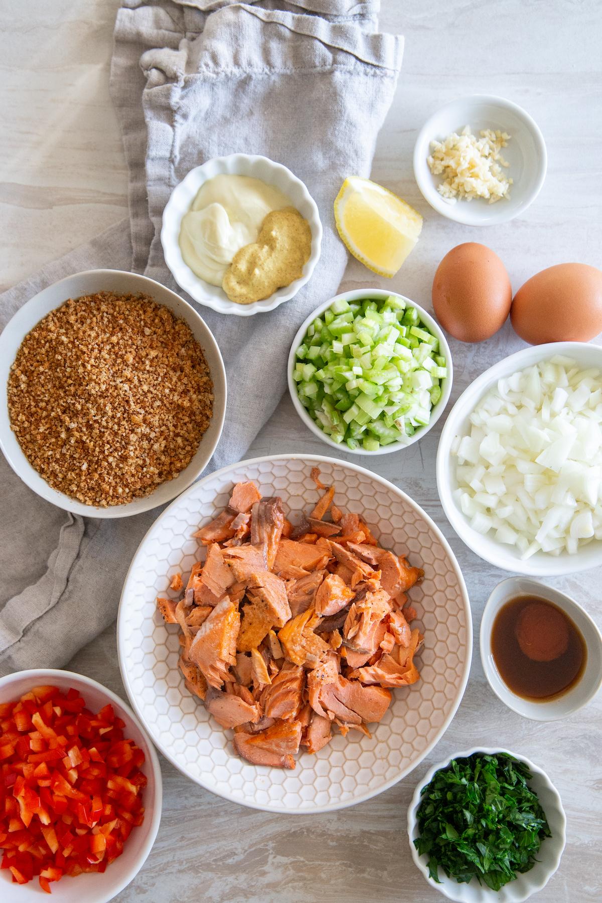 Ingredients for salmon patties.