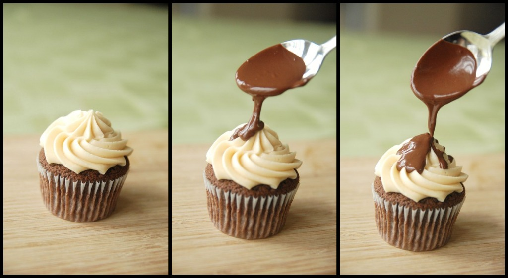 A Collage of Three Images of Chocolate Sauce Being Drizzled Over a Frosted Samoas Cupcake