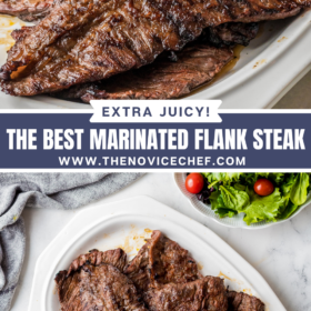 Collage image, image 1 of a flank steak on a white plate and image 2 overhead image of flank steaks stacked onto a white plate.