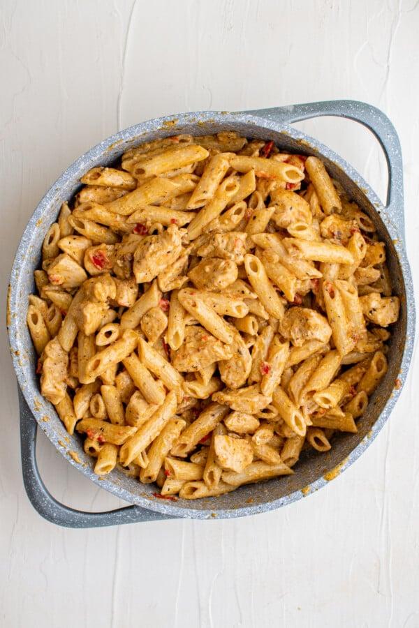 Creamy Cajun chicken with pasta.