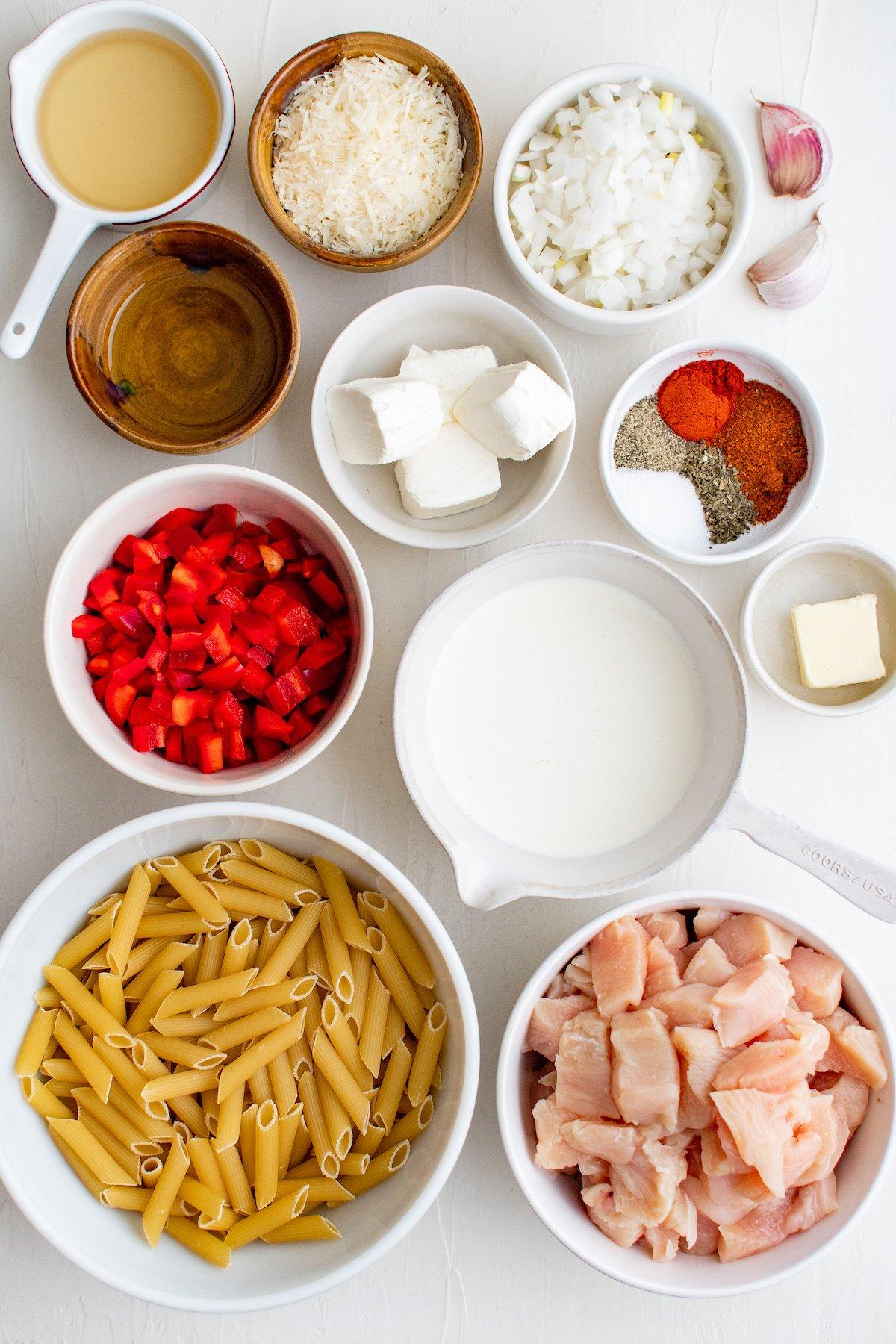 Ingredients for Cajun chicken pasta.