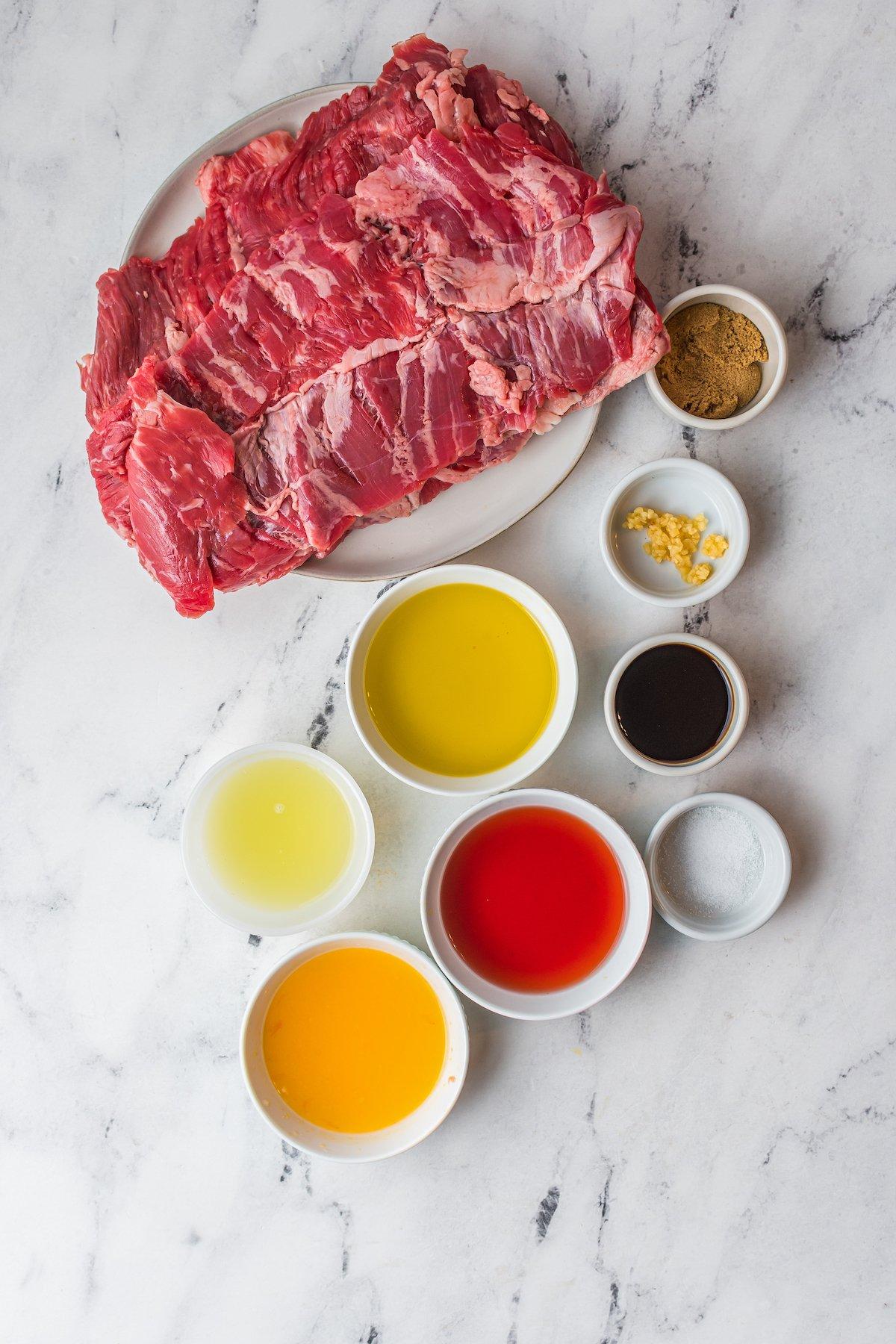 Ingredients for flank steak.