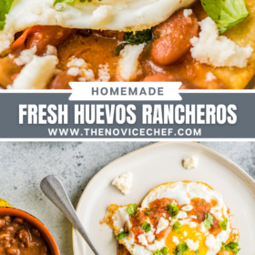 Collage image: up close image of a fried egg on top of a tortilla with beans and cheese and an overhead image of Huevos rancheros on a white plate with a fork and salsa.