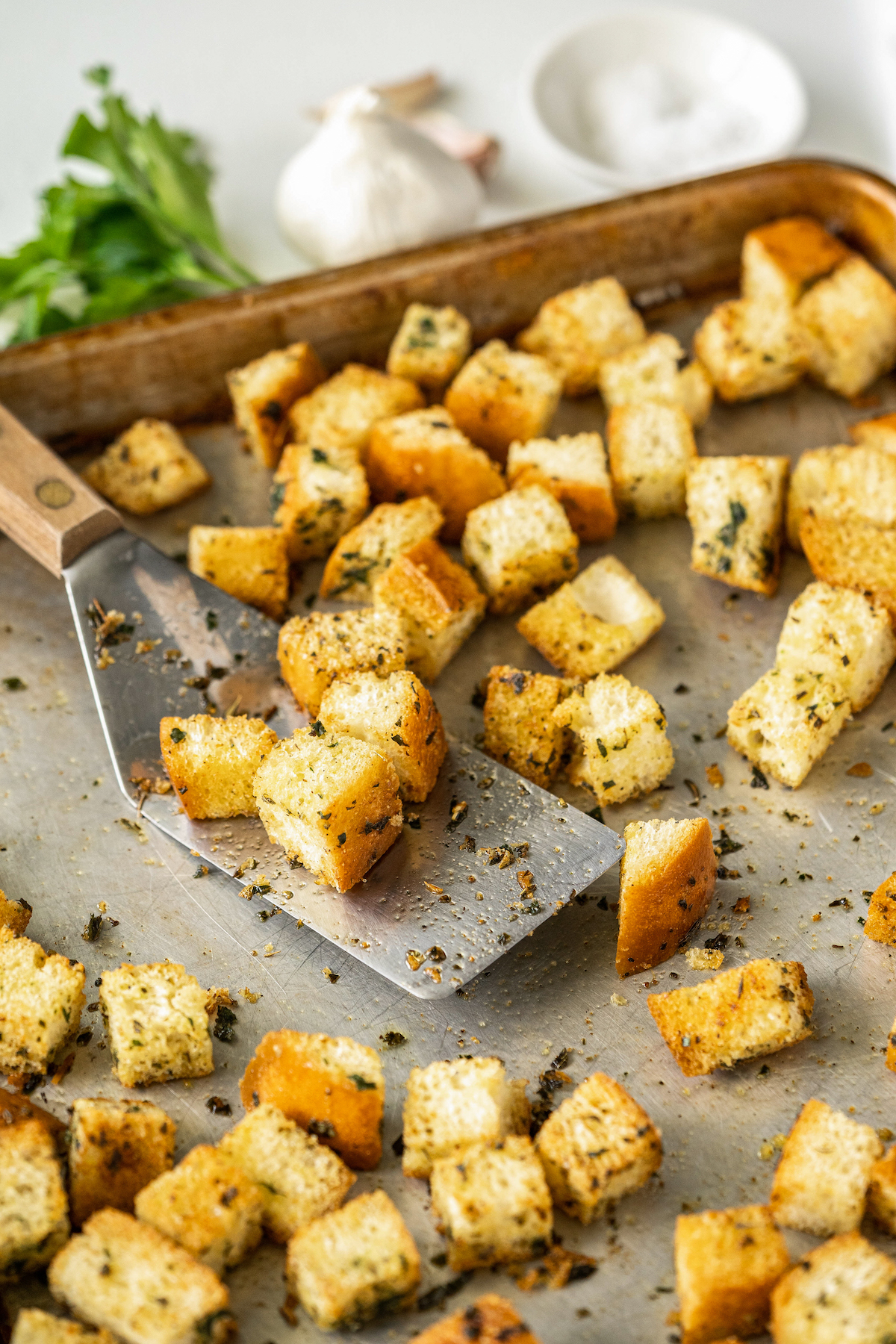 Baked croutons on a baking sheet.