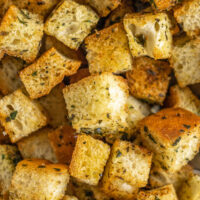 Crunchy homemade croutons with seasoning.