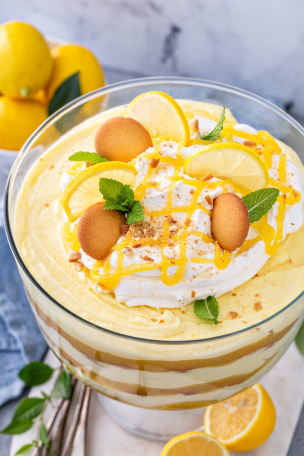 Overhead image of a lemon pudding trifle with cookies and lemon curd on top.