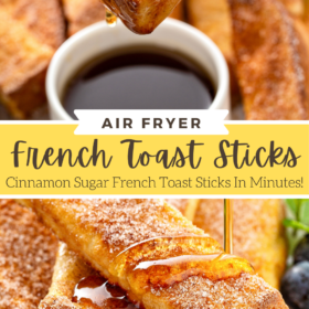 syrup is being poured over a stack of French toast sticks on a white plate.
