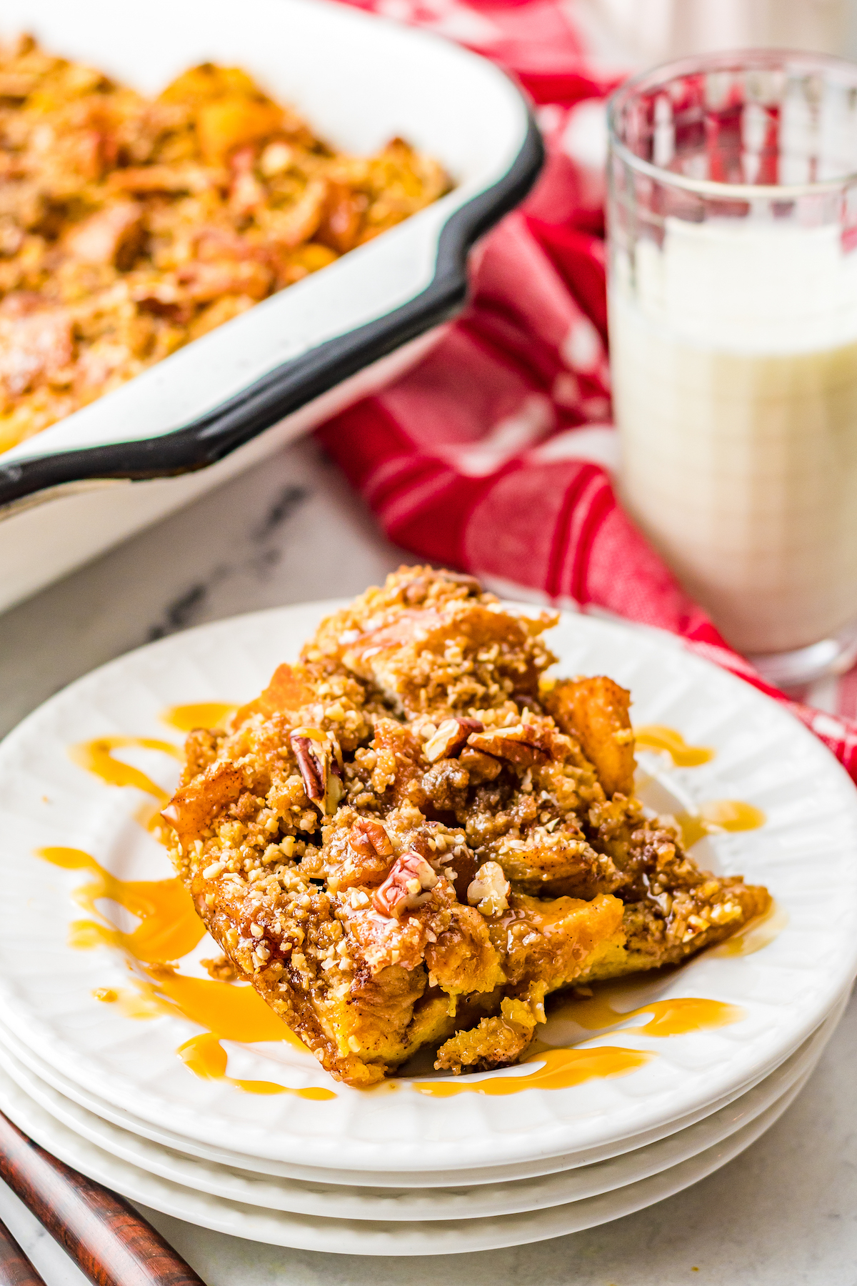 French toast casserole with caramel sauce.